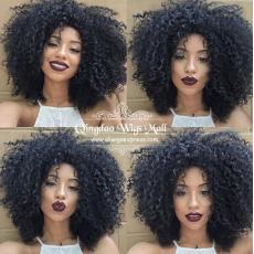 Hot Pretty Short Curly Human Hair Wigs For Black Women 150 Density