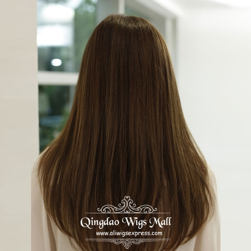 Cheap Long Straight Brown V Cut Human Hair Lace Front Wigs In Canada