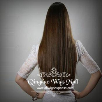Cheap Human Hair Long Straight Wigs Light Brown Colour Rounded V Cut
