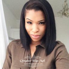 Exquisite Italian Yaki Bob Lace Front Wigs For Black African American Ladies Short