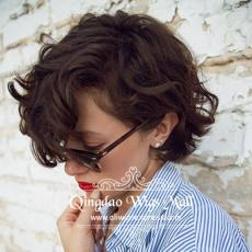 Very Short Bob Pixie Cuts Brown Curly Silk Top Full Lace Wigs For Sale