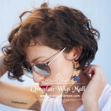 Asian Beauty Short Wavy Pixie Cuts Hairstyle Large Volume 100 Human Hair Afro Short Wigs