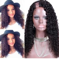 Cheap Afros Long Mongolian Kinky Curly U Part Human Hair Wigs For Sale 20inch