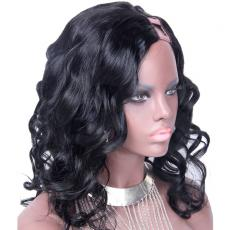 Decent Lady Charming Long Afros Wavy Curls Brazilian Virgin U Part Human Hair Wigs 16inch