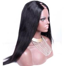 Custom Hand Knotted Naturally Long Soft Straight Peruvian Virgin Human Hair U Part Wigs 18inches