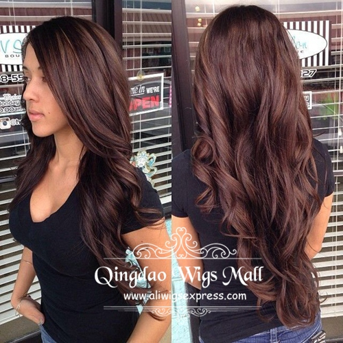 Spring School Hairstyle Dark Brown Caramel Balayage Indian Remy Hair ...