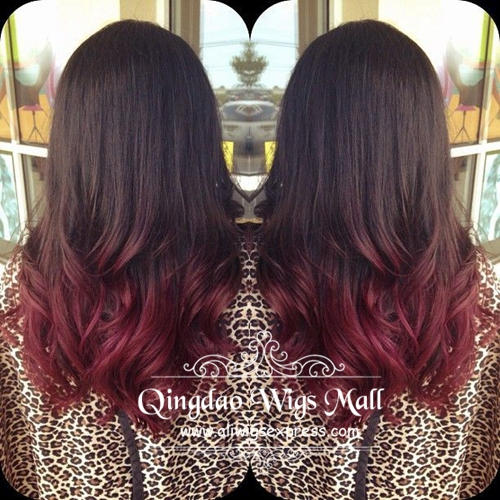 Black To Dark Red Tips Ombre Hair Color Natural European Waves