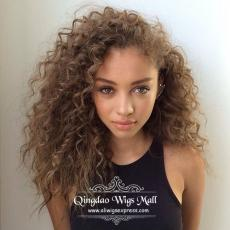 Beautiful Light Honey Brown Natural Curls Lace Front Hand Tied Wigs 16inch