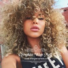 Brown With Blonde Highlights Big Beach Curly Lace Front Wigs Human Hair 16inch