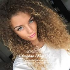 Pretty Teenage Girls Blonde Waterfall Curly Hairstyle Lace Front Wigs Human Hair 18inch