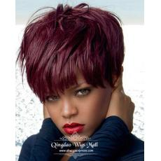 Awesome Rihanna Pastel Red Pink Dyed Hair Short Pixie Cuts African American Human Hair Wigs