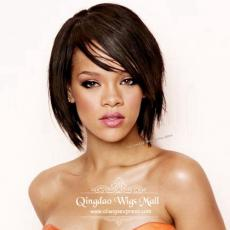 Cheap Cool Short Layered Bob Style Rihanna Human Hair Lace Front Wigs For Sale