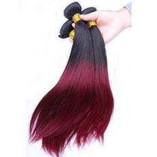 Cheap Ombre Hair Extensions Brazilian Virgin Hair Soft Straight T1B/Burgundy 3pcs/Lot