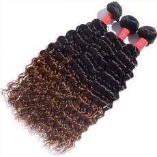 Dark Black To Browm Ombre 2 Tones Peruvian Virgin Hair Extensions 3pcs/Lot