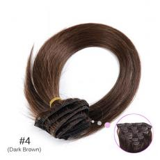 Clips In For Human Hair Extensions Dark Brown Soft Full Straight With Low Cost 7pcs/set