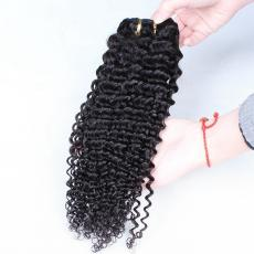 Fluffy Black Women Chic Deep Curly Afros Clip In Human Hair Extensions 6A Indian Remy Human Hair Wef...