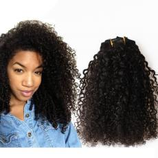 Super Cute Teenage Girls Small Kinky Curly Clip In Human Hair Extensions 6A Peruvian Virgin Hair Wef...
