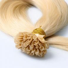 Unique Pretty Bleached Blonde Soft Straight Keratin U Tip Colorful Human Hair Extensions 6A Indian R...