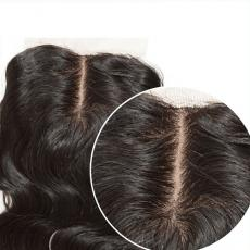 Beautiful Natural Loose Body Wave 6A Virgin Brazilian Human Hair Silk Base Closure Middle Part