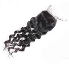 Street Style Long Deep Wave Curls 6A Indian Remy Human Hair Lace Base Closure