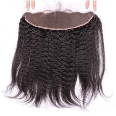 Coarse Yaki Straight 13*4 Remi Indian Human Hair Full Lace Frontal Closure