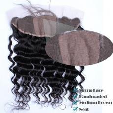 Best 13*4 Medium Brown Silk Base Frontal With Baby Hair 7A Malaysian Virgin Human Hair Deep Waves