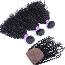 Cheap Kinky Curly Brazilian Virgin Hair Weaves 3pcs With Silk Base Closure