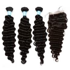 Black Women Deep Wave Brazilian Virgin Human Hair Bundles With Swiss Lace Closure 4pcs/lot