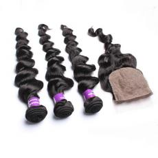 Super Charming Three Part Brazilian Virgin Human Hair Bundles With Silk Base Closure
