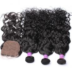 Shaggy Wet And Wavy Brazilian Virgin Human Hair Bundles With Silk Base Closure Dark Brown