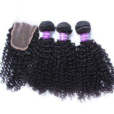 Gorgeous Afros Deep Curly Brazilian Virgin Human Hair Bundles With Lace Closure