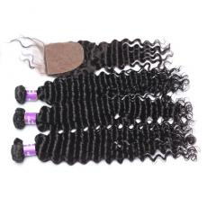 Glamorous Long Deep Curly Brazilian Virgin Human Hair Bundles With Silk Base Closure