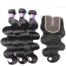 High Quality Loose Body Wave Brazilian Virgin Human Hair Bundles With Lace Closure