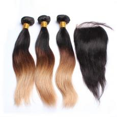 3 Tones Ombre Blonde Brown Brazilian Virgin Human Hair Bundles With Swiss Lace Closure