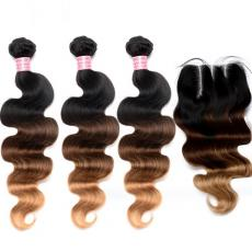 3 Tones Ombre Blonde Brown Body Wave Brazilian Virgin Human Hair Bundles With Swiss Lace Closure
