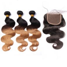1b/613 Bleached Blonde Black Ombre Body Wave Brazilian Virgin Human Hair Bundles With Swiss Lace Clo...