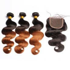 1b/27 Sombre 2 Tones Strawberry Blonde Black Brazilian Virgin Human Hair Bundles With Swiss Lace Clo...