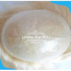 Clear Thin Poly Skin Custom Hairpieces Blonde Men's Hair Replacement Toupee From China