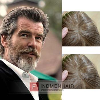 Classy Back-Combed Light Brown With Grey Human Hair Wigs For Old Man Online  Sale 1f779de471f6