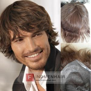 Super Thin Skin Brown Wavy Mens Long Hair Wigs Saudi Arabia