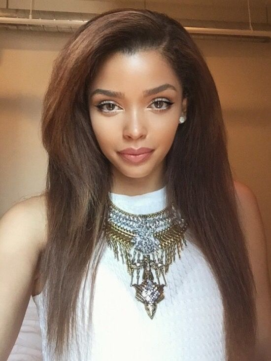 Honey Brown Long Straight Hairstyles Human Hair Wigs For Black Girls