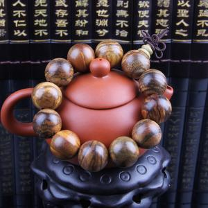 Buddhist Decor Prayer Beads Mens Wooden Beads Bracelets and Bangles With Tiger Stripes
