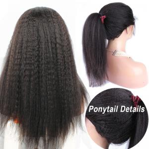 Long Kinky Straight Yaki Hairstyles Virgin Human Hair Lace Front Wigs