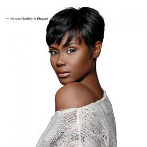 Simple Short Pixie Cuts Capless Black Human Hair Wigs With Full Fringe