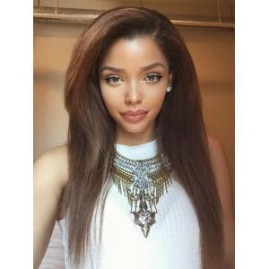 Honey Brown Long Straight Hairstyles Human Hair Wigs For Black Girls ...