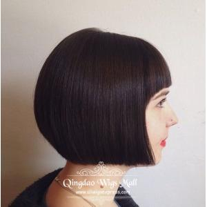Perfect Asian Black Bob Short Haircuts Human Hair Wigs With Bangs