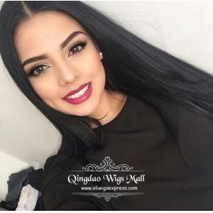 Sexy Long Straight Dark Black Thin Human Hair Lace Front Wigs