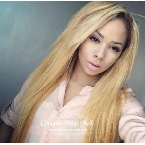 Smooth Silky Straight Blonde Human Hair Wigs For Black Women 20inches