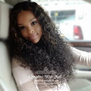 Fascinating Custom Long Body Curly Remy Human Hair Wigs Lace Front Wigs 18inch 150 density
