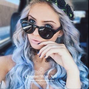 Top Quality Big Wavy Grey Blue Ombre Human Hair Wigs Capless 22inch